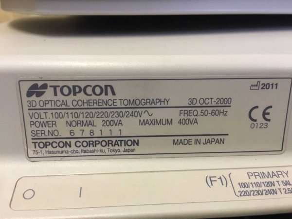 Topcon 3D OCT 2000 Optical Coherence Tomography